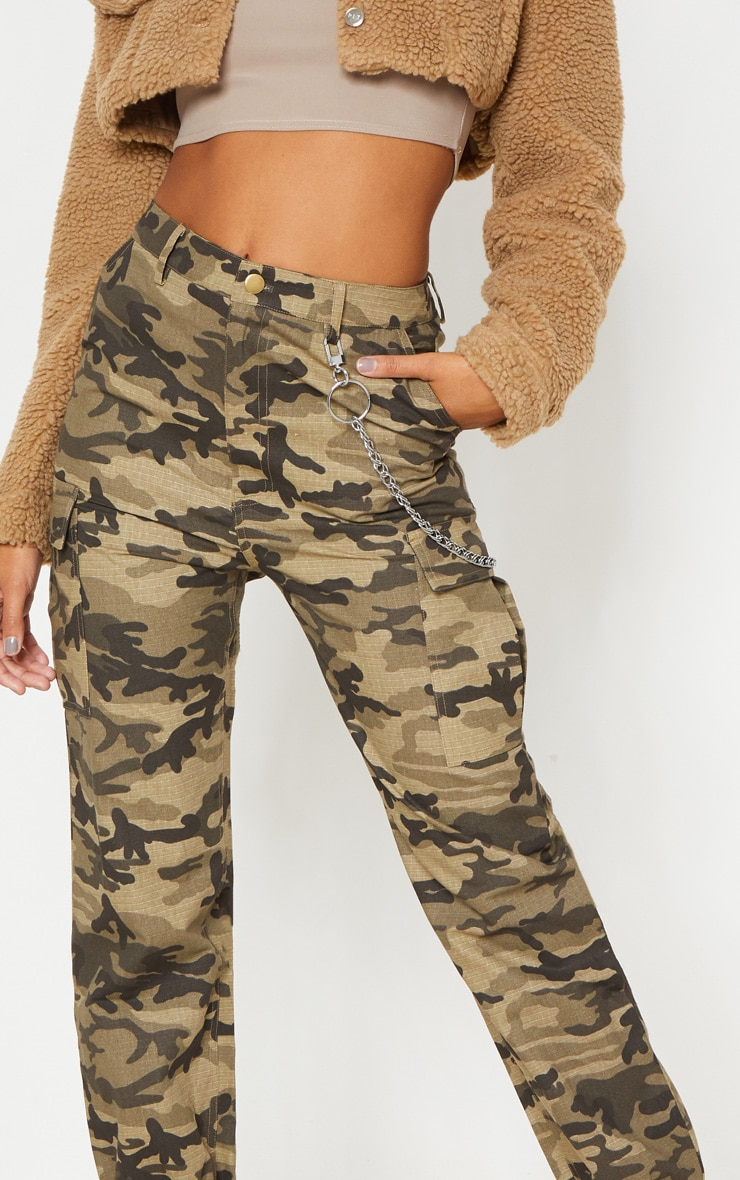 Khaki Camo Pocket Detail Cargo Pants  5