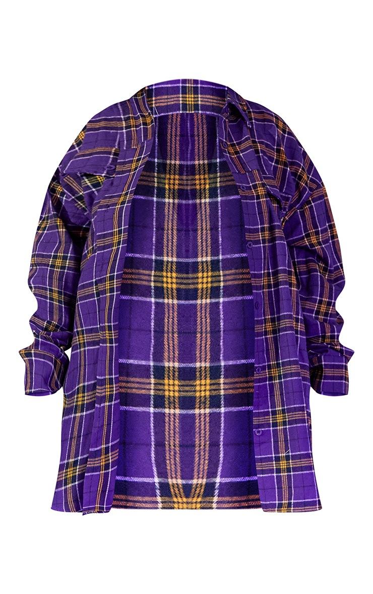 Plus Purple Unisex Check Flannel Oversized Shirt 6
