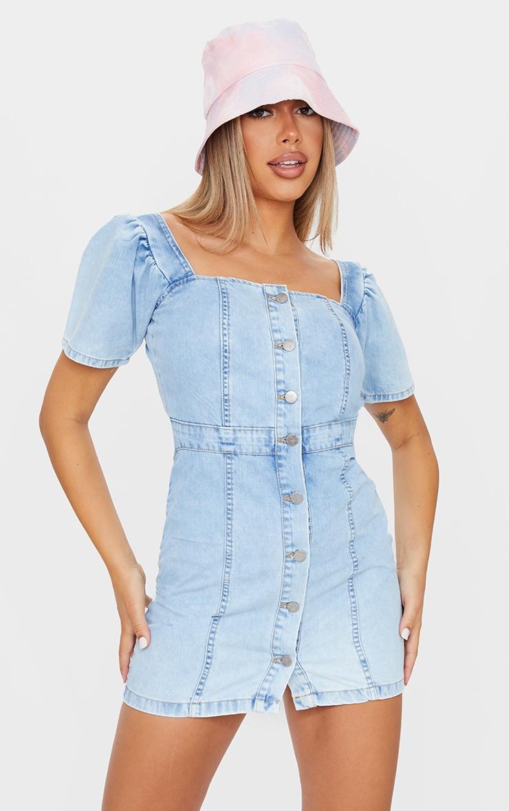 Light Blue Wash Button Through Denim Dress 1