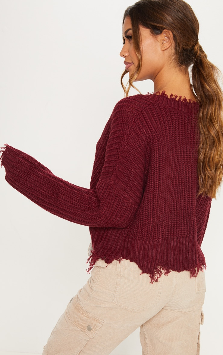 Burgundy Fringe Hem Knitted Sweater  2
