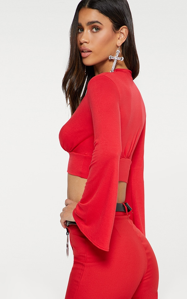 Red Jersey Flare Sleeve Plunge Crop Top 2