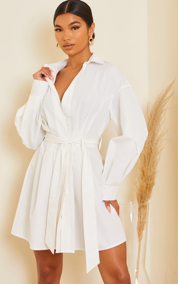 White Pleated Detail Button Down Shirt Dress 3