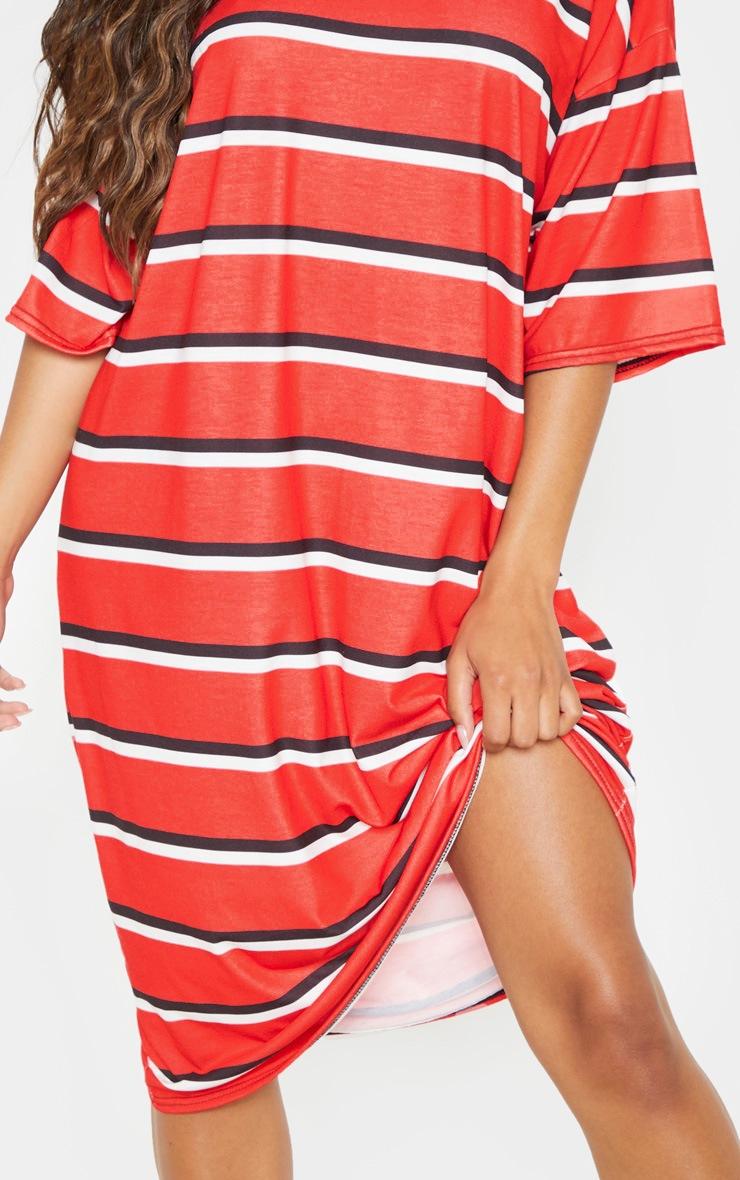 Red Stripe Oversized Boyfriend Midi T Shirt Dress 4