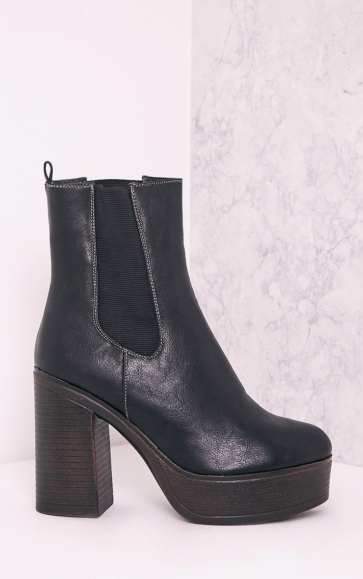 Shana Black PU Wooden Platform Ankle Boots 3