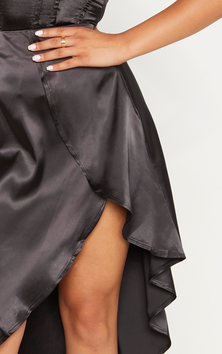 Petite Black Satin Asymmetric Skirt 4