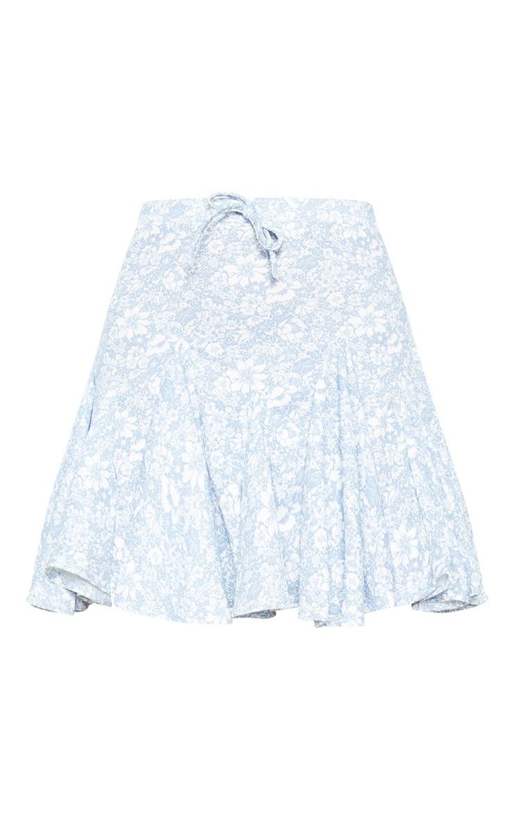 Pale Blue Floral Printed Full Hem Skater Skirt 3