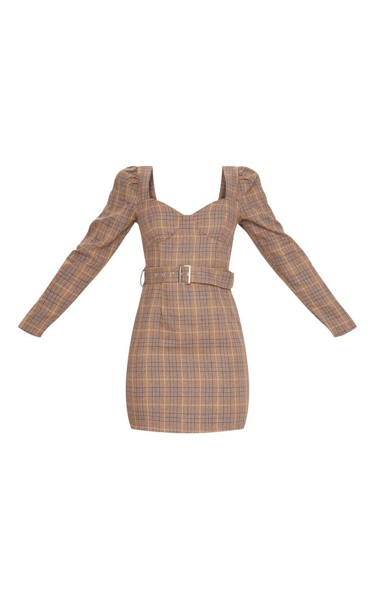 Brown Check Print Belt Detail Long Sleeve Shift Dress 3