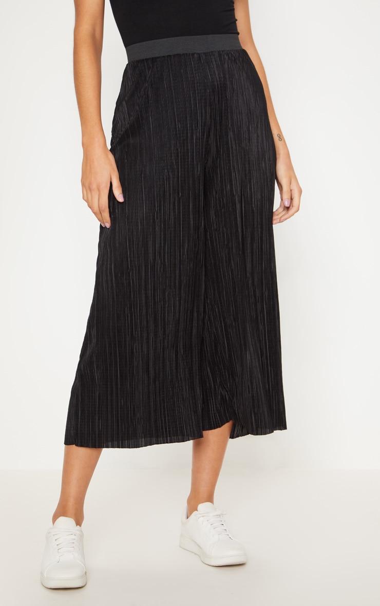 Black Oversized Plisse Culotte 2