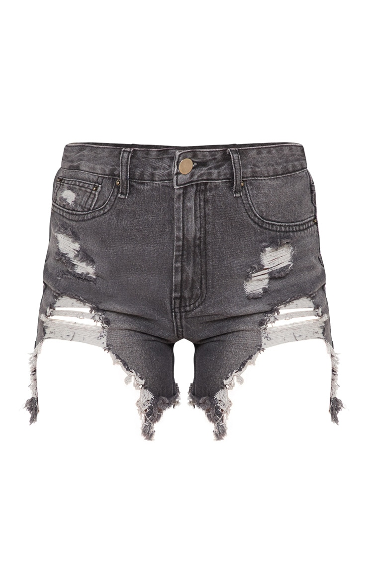Black Heavy Distressed Denim Shorts 3