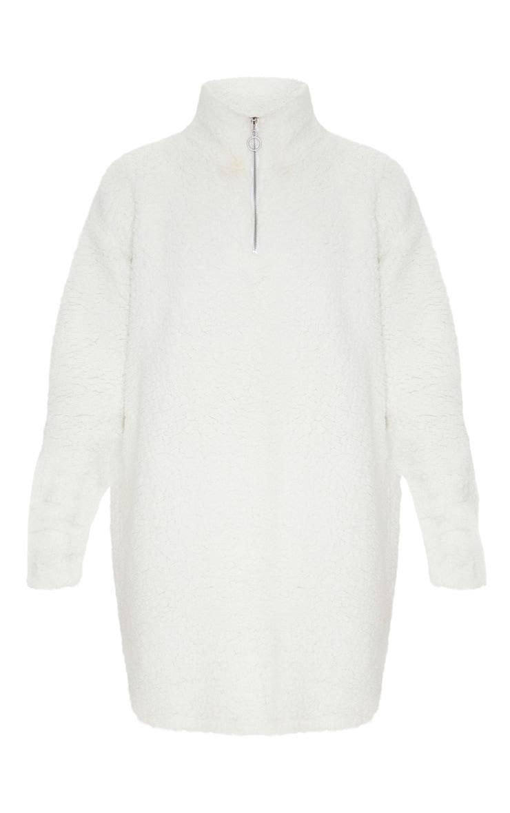 Cream Oversized Borg Zip Neck Jumper Dress 3