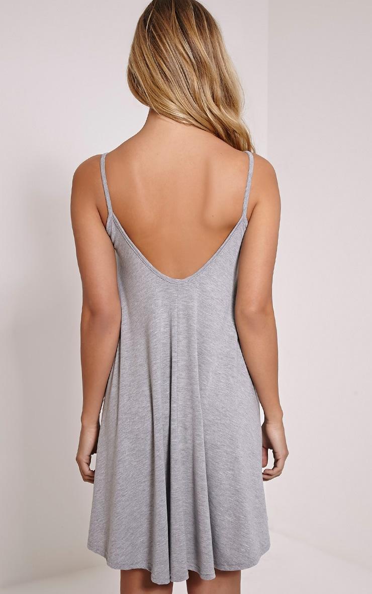 Basic robe trapèze à bretelles grise en jersey chiné 2
