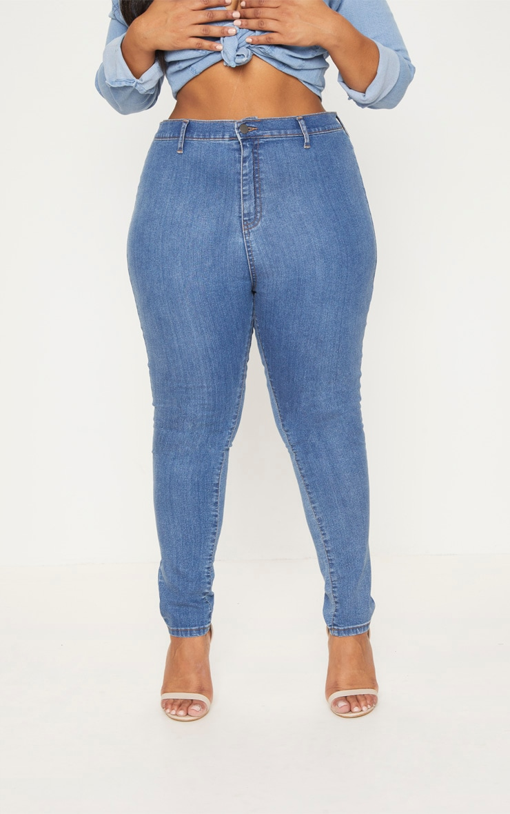 Plus Mid Wash High Waist Skinny Jeans 6