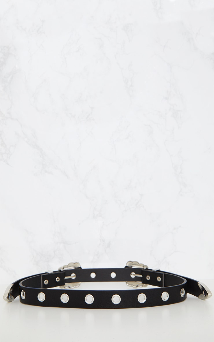 Black Studded Double Buckle Belt 4