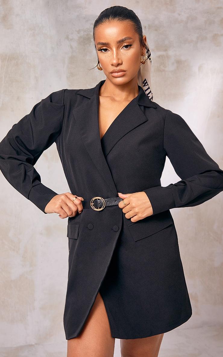 Black Woven Belted Blazer Dress 2