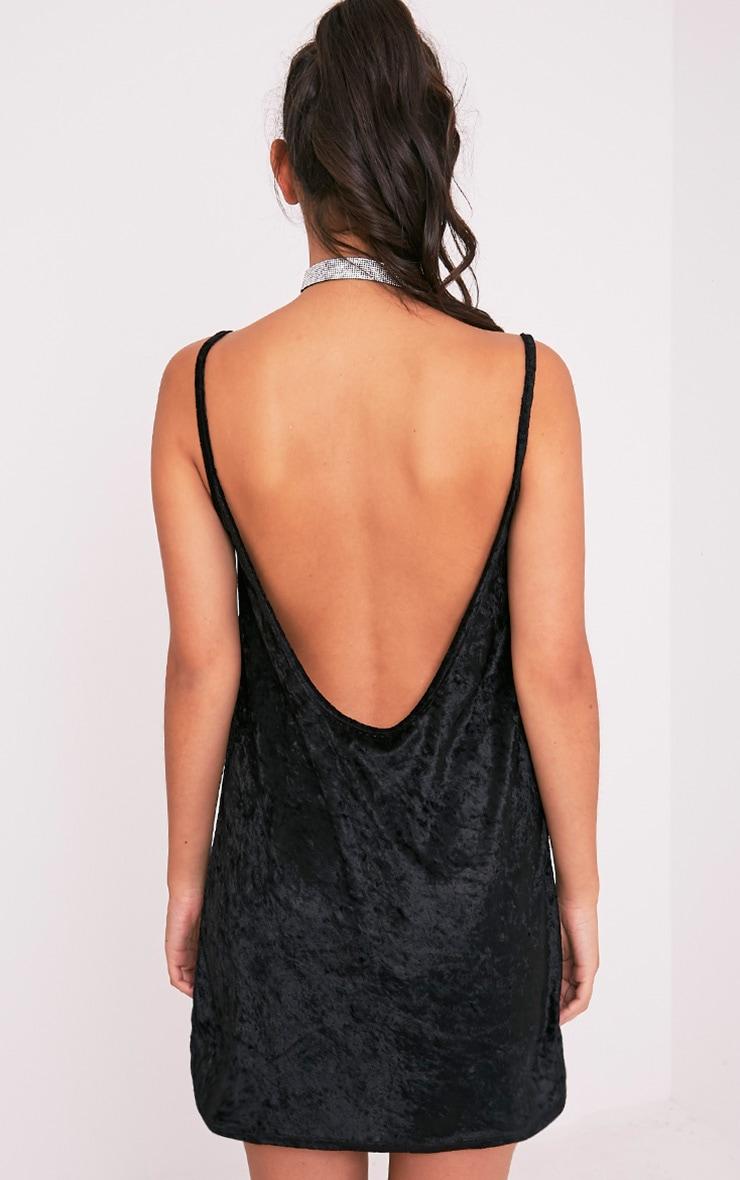Carmela Black Velvet Mesh Insert Swing Dress 2
