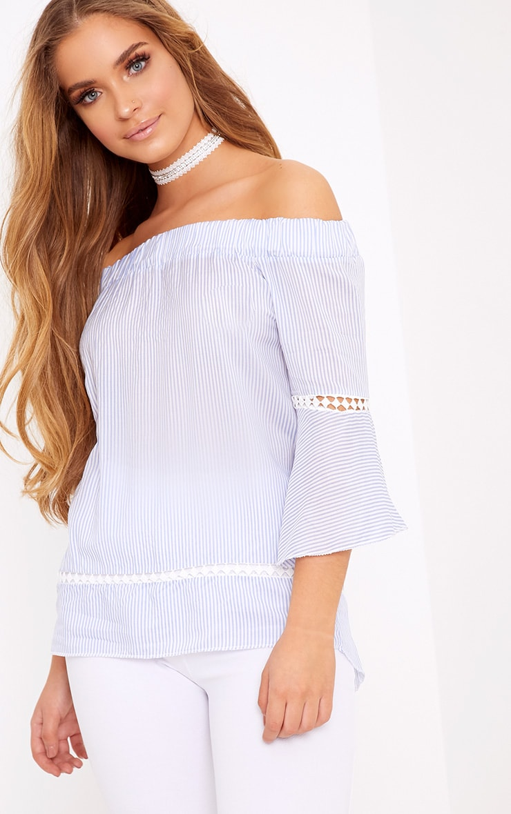 Althea Blue Stripe Bardot Crochet Detail Shirt 1