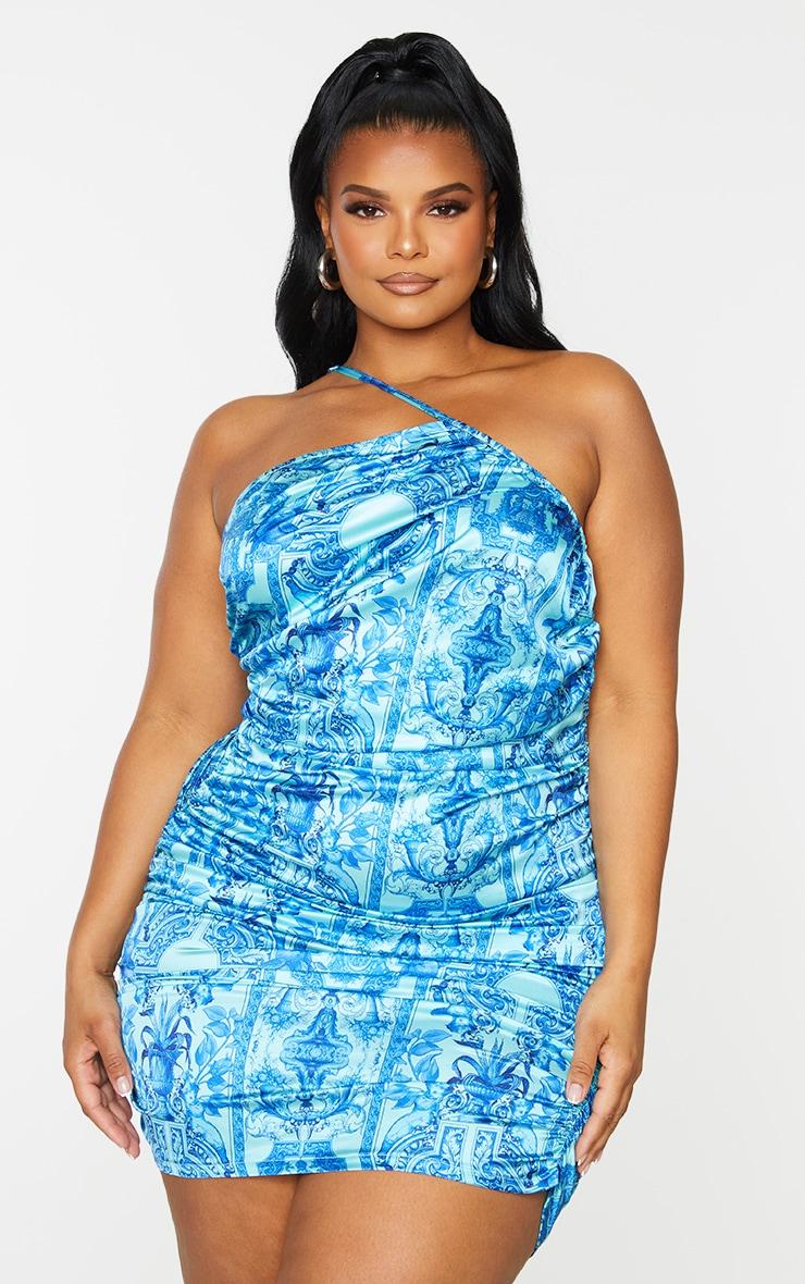 Plus Blue Tile Print Satin Asymmetric Bodycon Dress 3