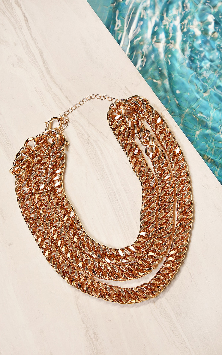 Gold Chunky Chain Three Layer Necklace 1