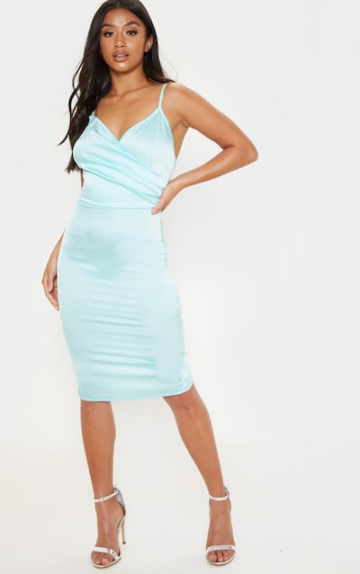 386c626d0c77 Petite Dusty Blue Satin Strappy Midi Dress PrettyLittleThing Sticker