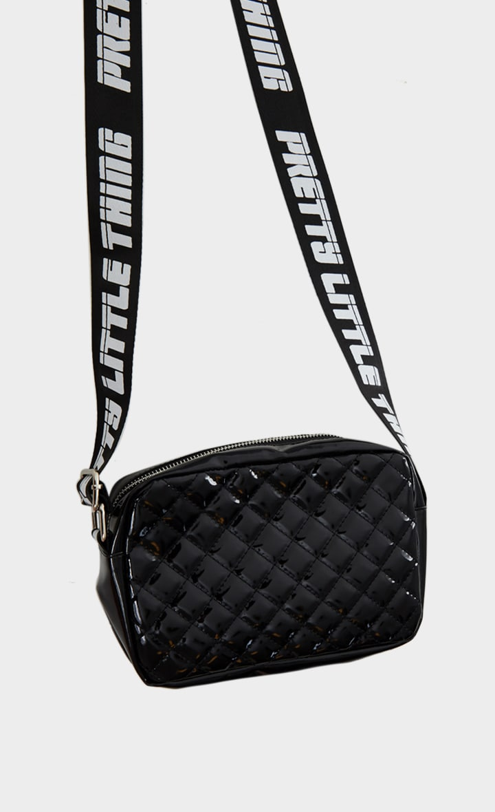 PRETTYLITTLETHING Black Shiny Quilted Cross Body Bag 2
