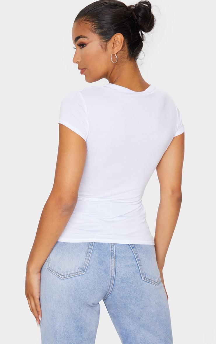 Basic White Crew Neck Fitted T Shirt 2