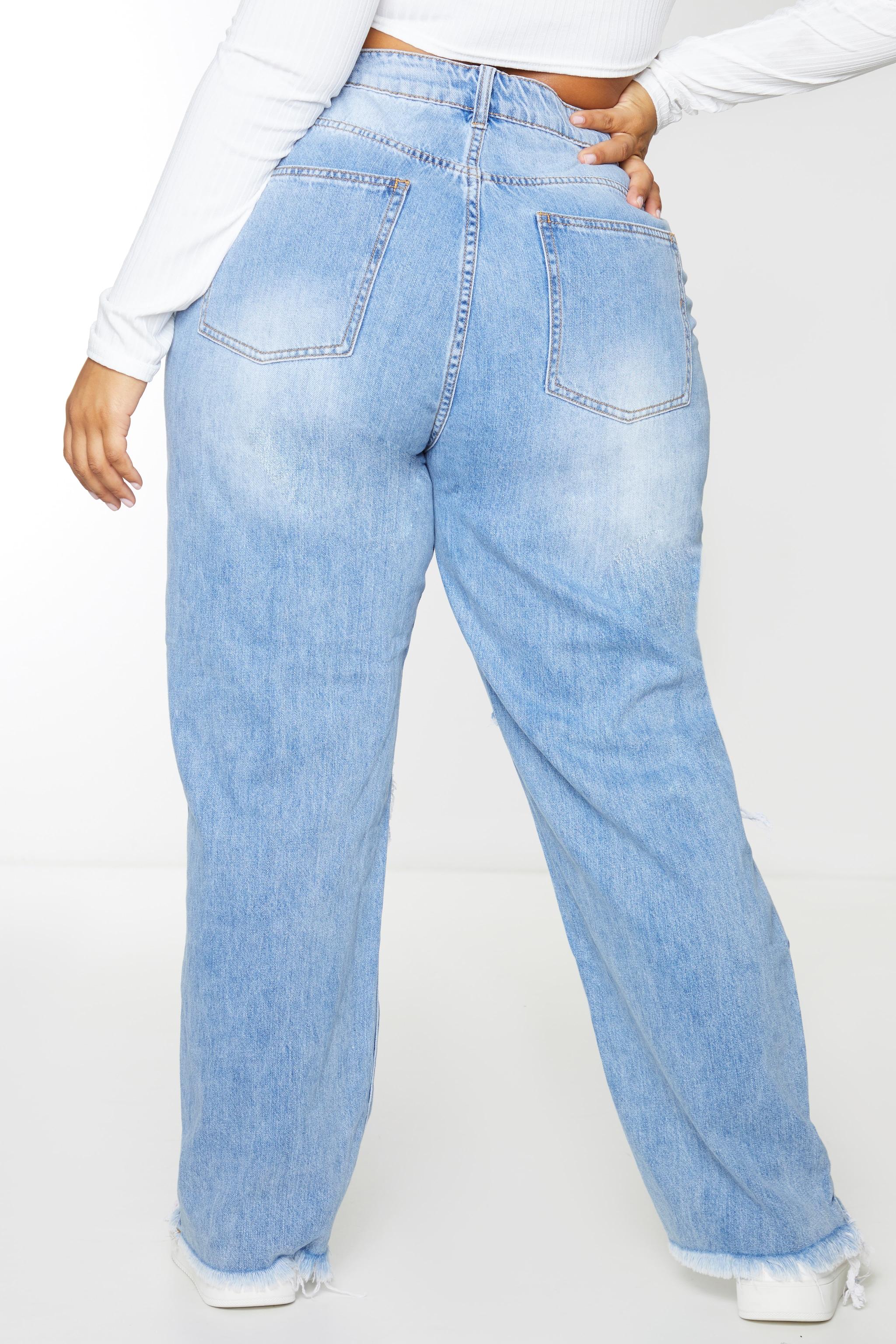 PRETTYLITTLETHING Plus Light Blue Wash Extreme Distressed Hem Boyfriend Jeans 3