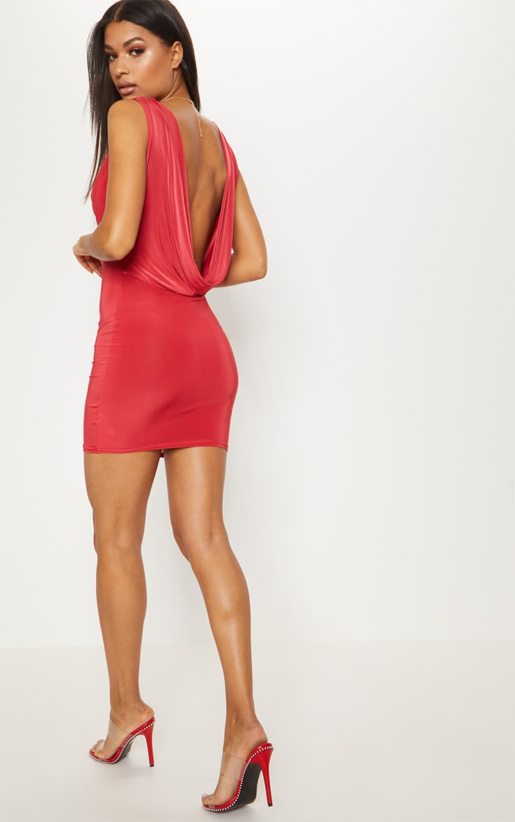 Red Slinky Extreme Cowl Front & Back Sleeveless Bodycon Dress 1