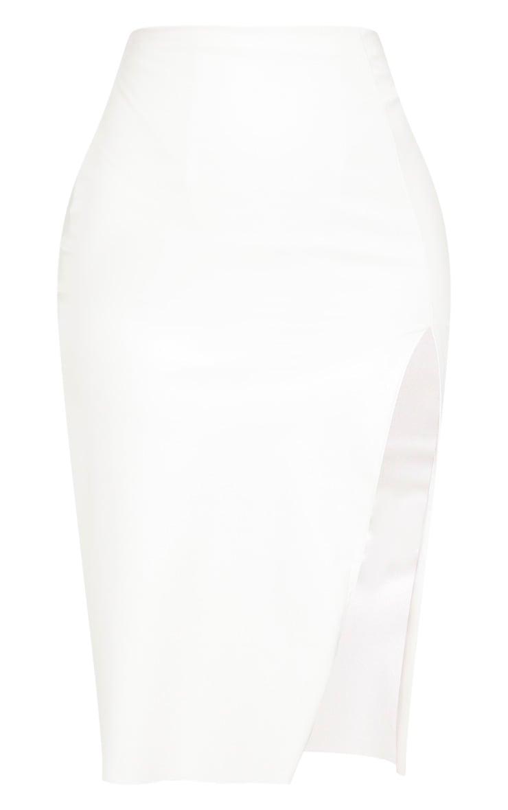 White Faux Leather Extreme Split Midi Skirt 3