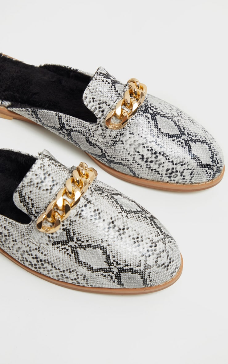 Snake Faux Fur Lined Chunky Chain Mule Flat 4