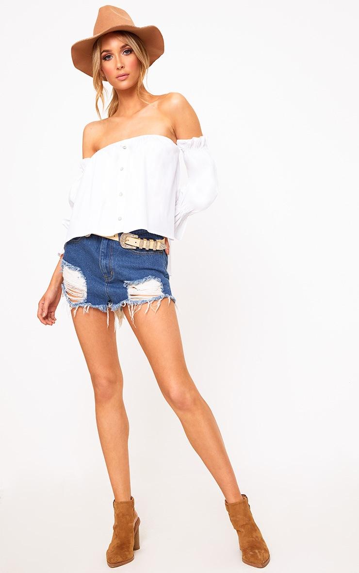 White Bardot Button Front Shirt 3