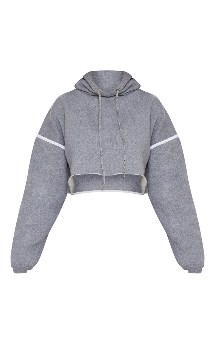 Grey Contrast Stripe Drop Shoulder Hoodie 3