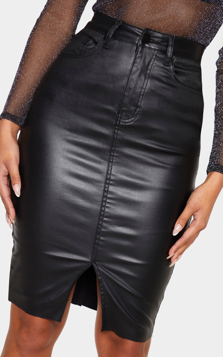 Black Coated Denim Midi Skirt 6