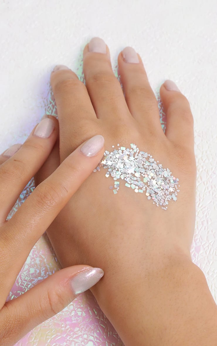 PRETTYLITTLETHING Chunky Silver Cosmic Glitter 4
