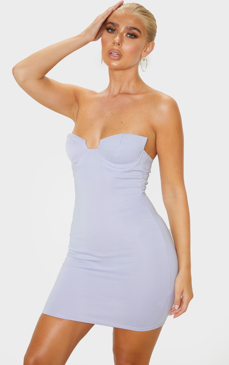 Lilac Winged Bandeau Bodycon Dress 1