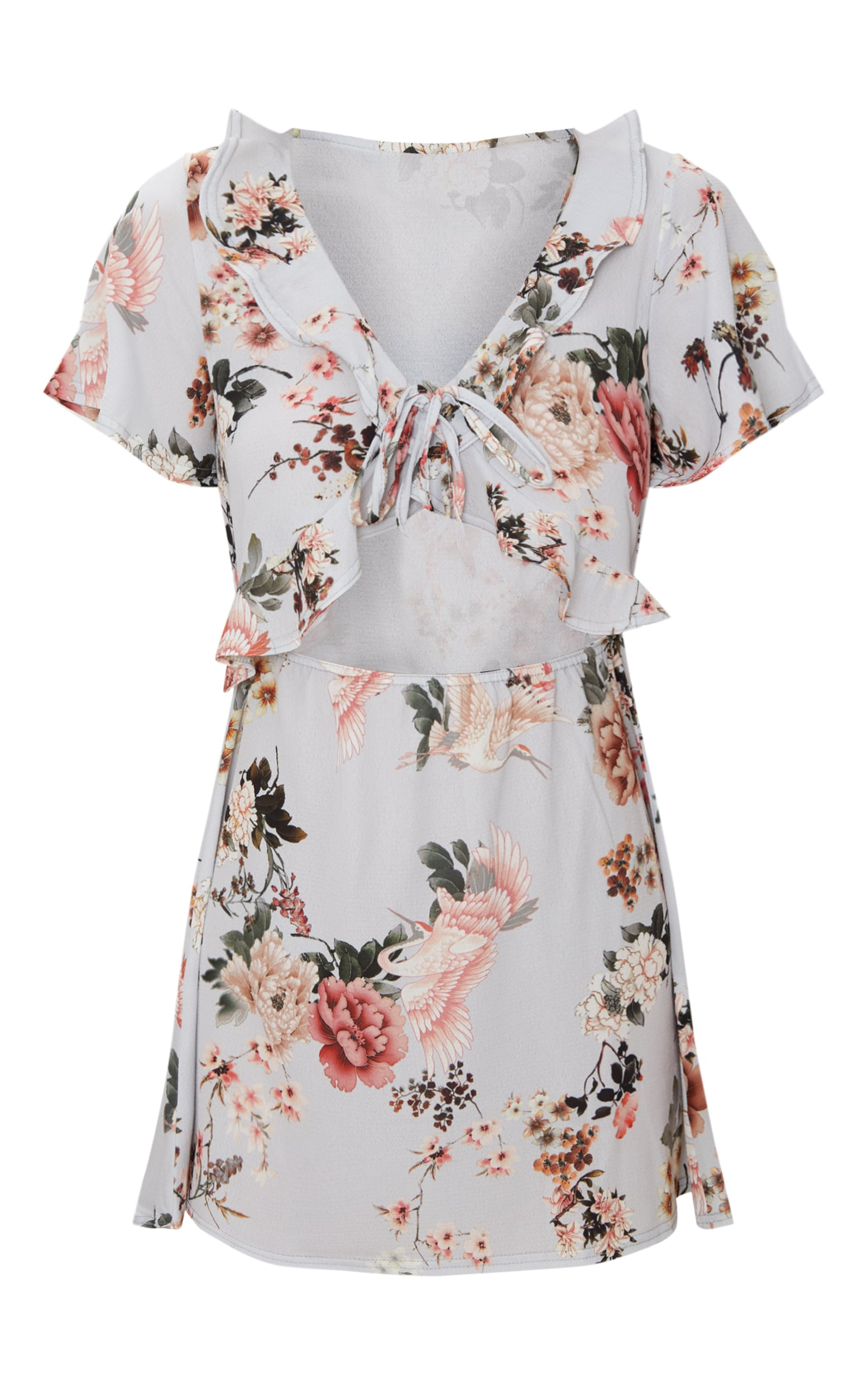 Grey Floral Print Frill Detail Tea Dress 3