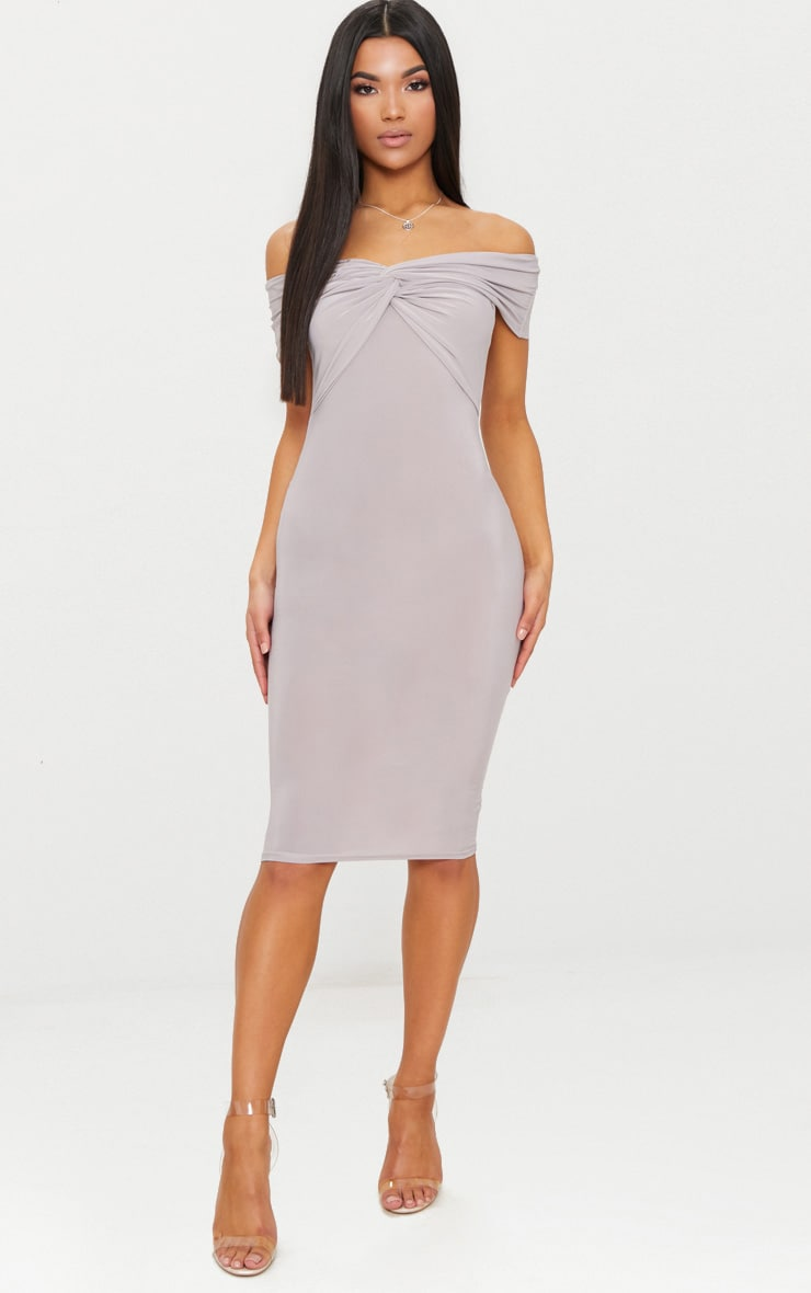 Ice Grey Bardot Twist Detail Midi Dress