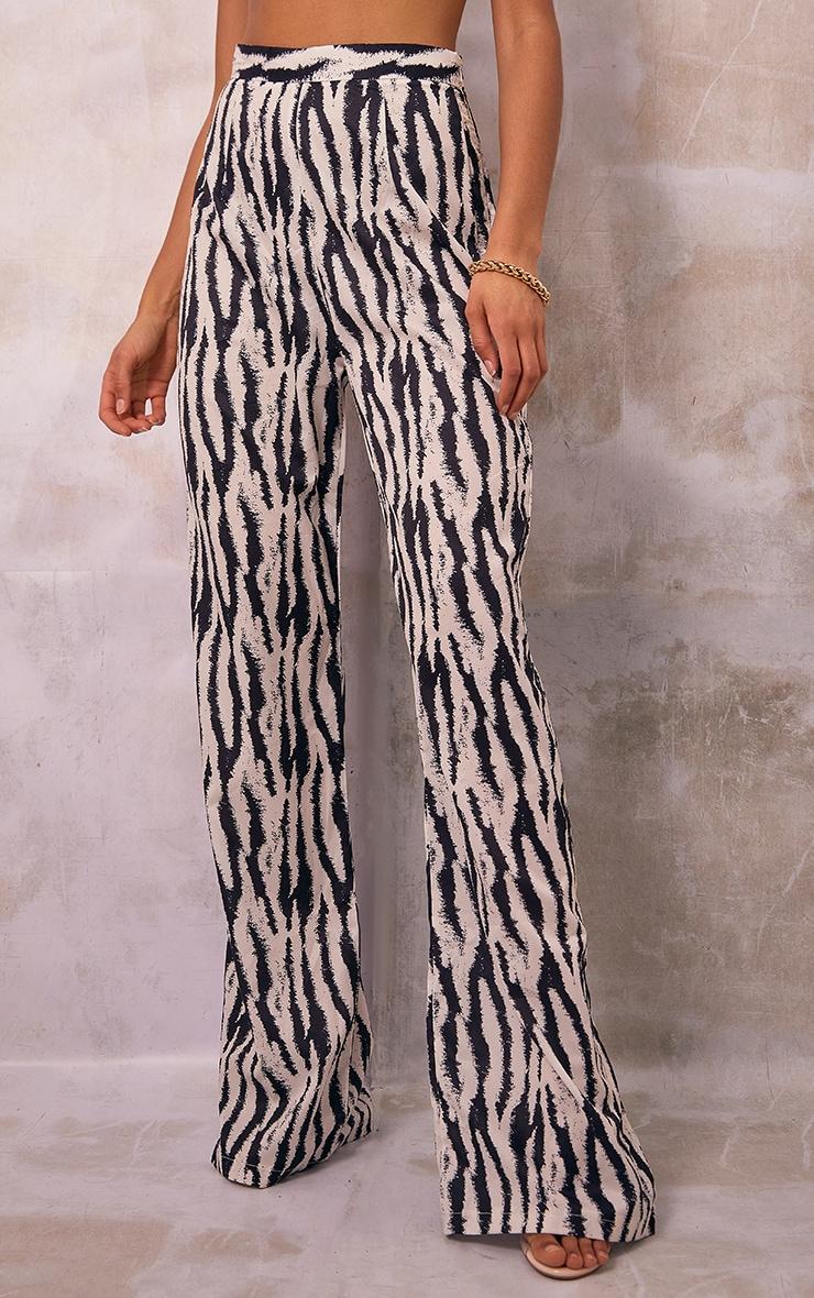 Black Zebra Print Wide Leg Pants 2