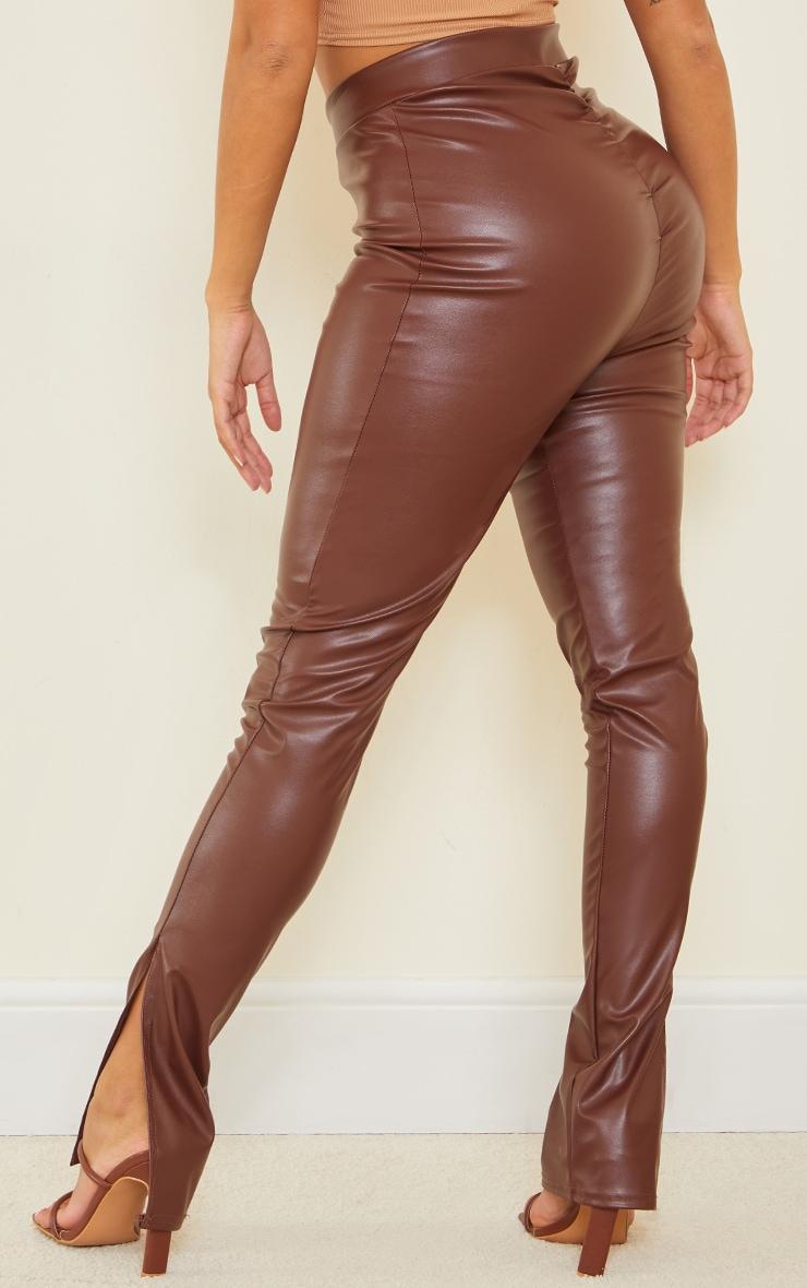 Shape Chocolate PU V Front Ruched Bum Split Hem Pants 3