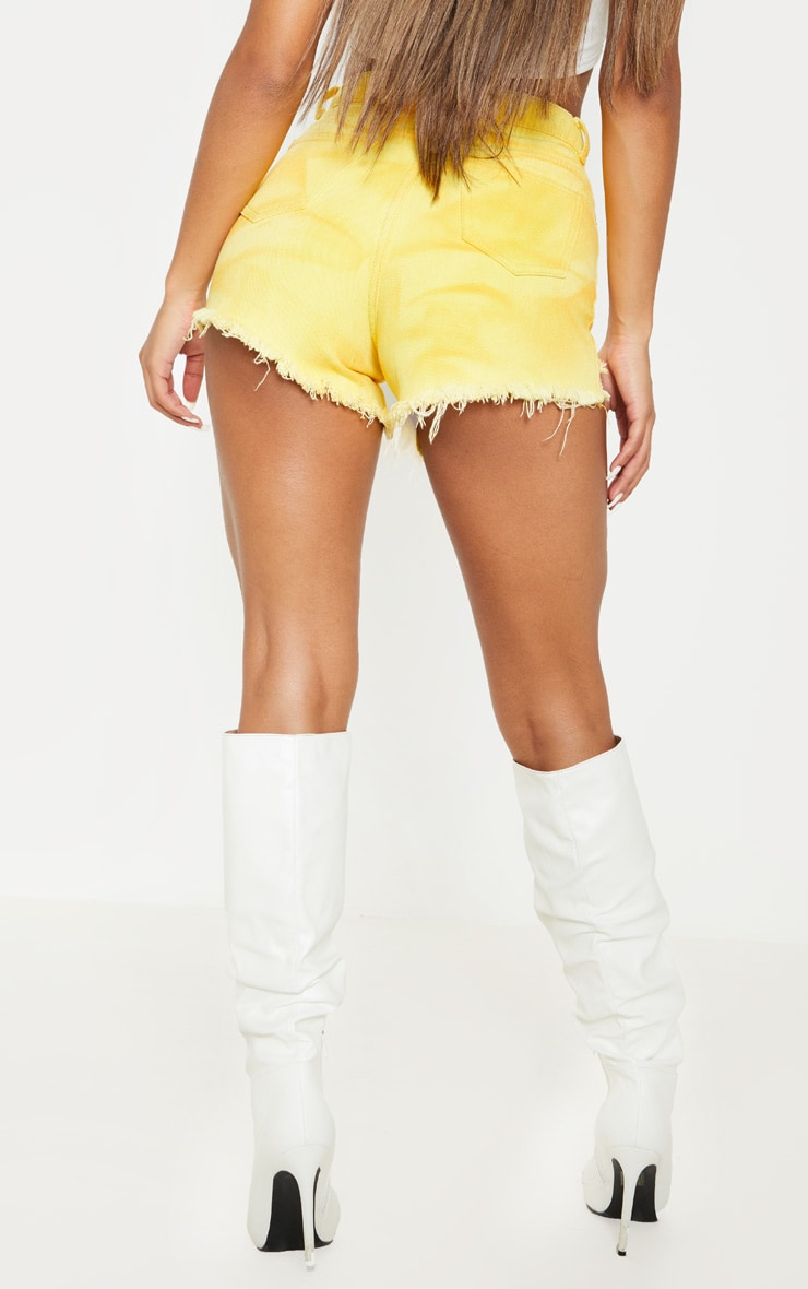 Washed Yellow Distressed Denim Mom Shorts 4