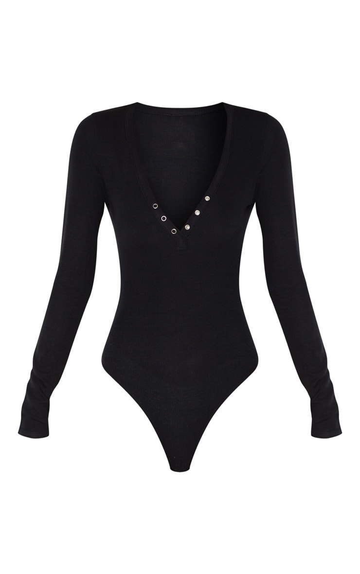 Tall Black Long Sleeve Popper Detail Thong Bodysuit 3
