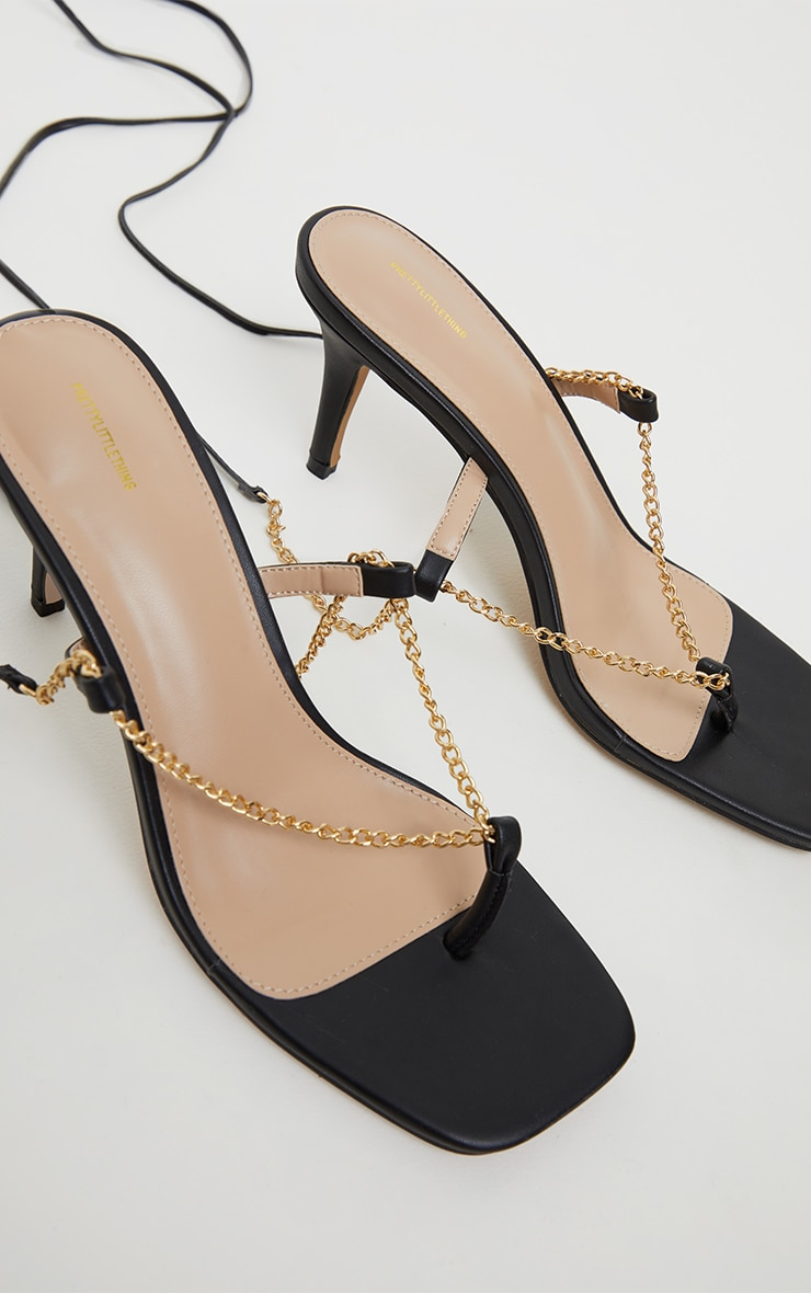 Black Chain Toe Thong Lace Up  Heeled Sandals 4