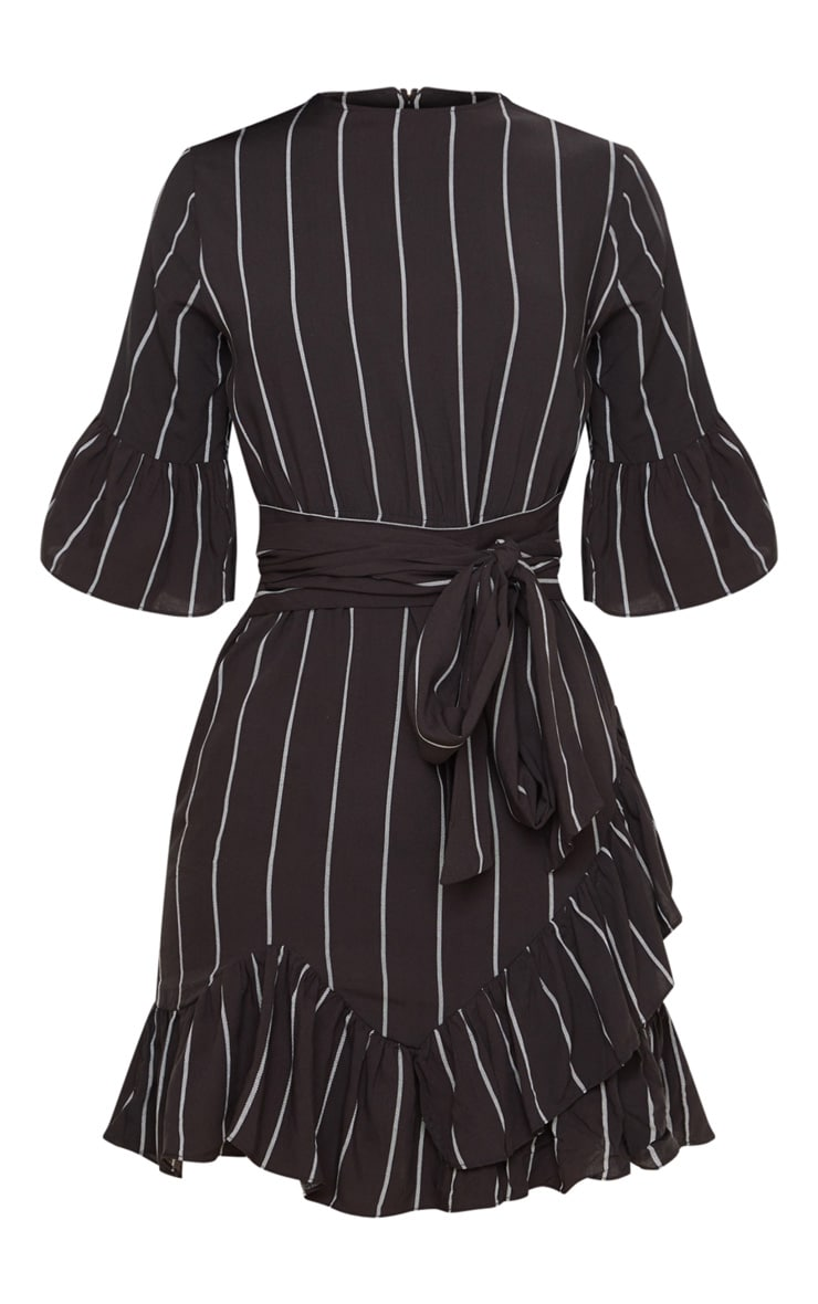 Black Stripe Frill Detail Mini Dress 4