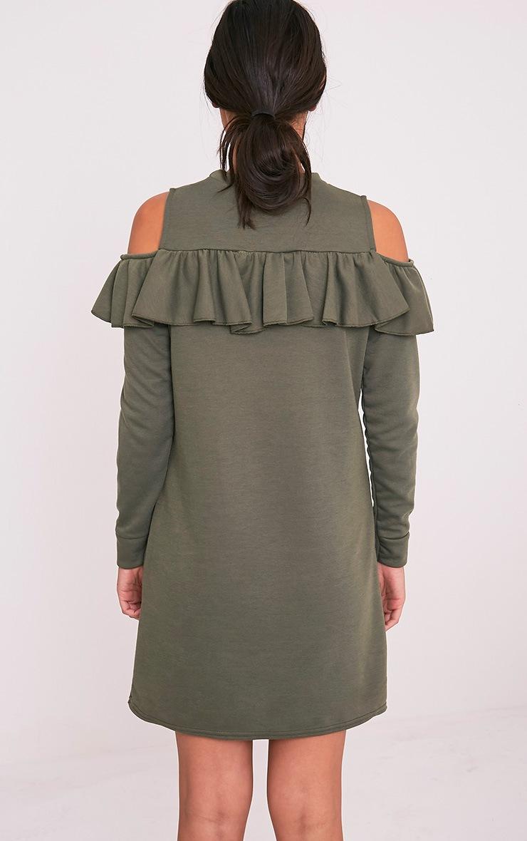 Bridy Khaki Cold Shoulder Sweater Dress 2