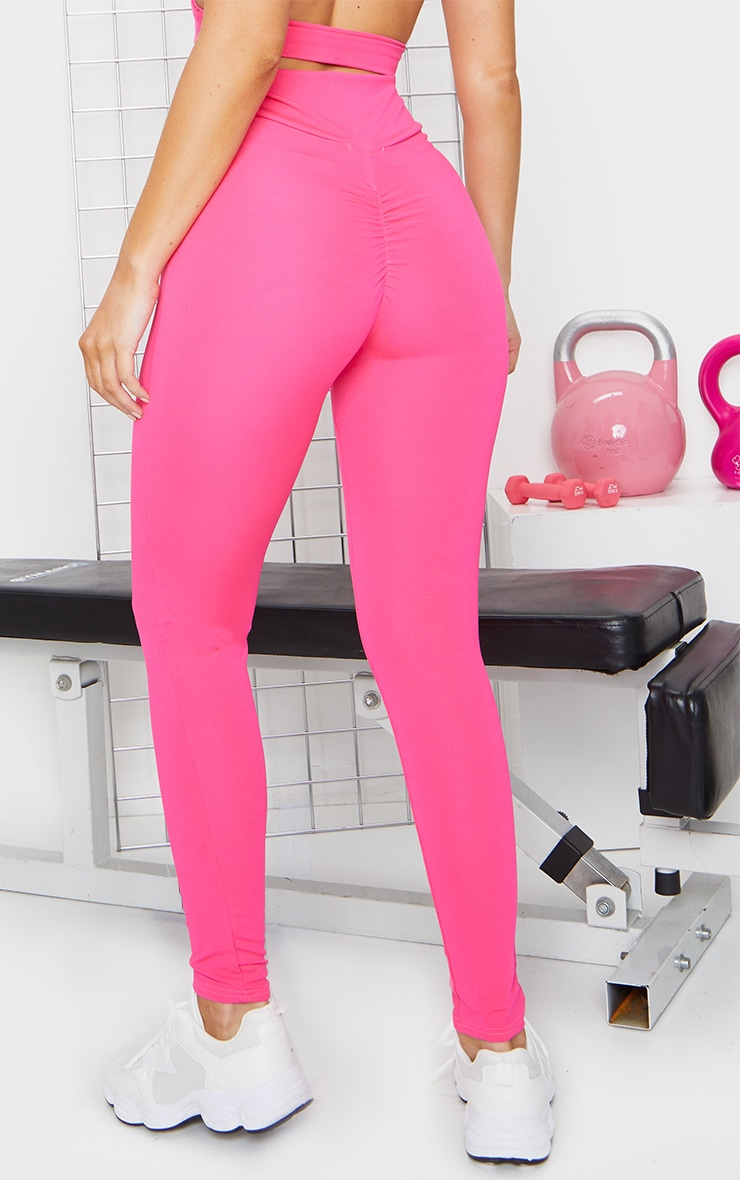 Hot Pink Ruched Bum Gym Leggings 2