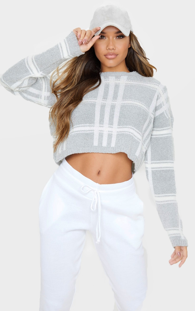 Grey Check Boucle Cropped Sweater 1