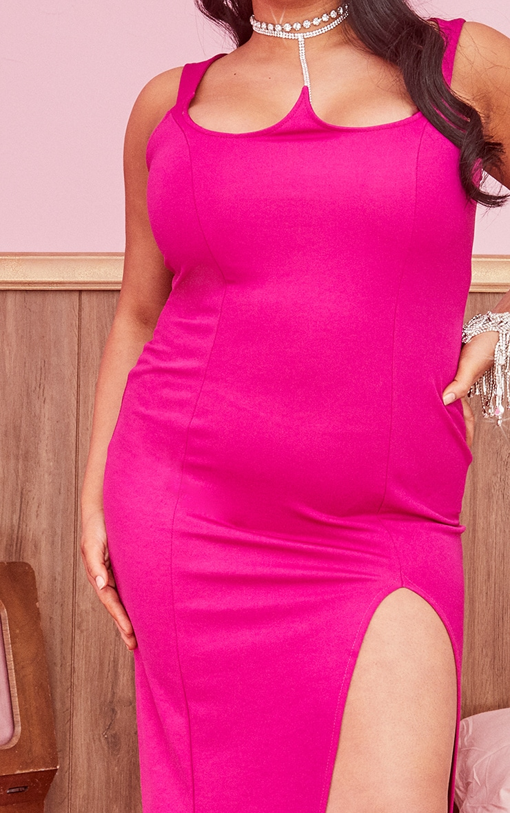 Plus Hot Pink Structured Bodice Maxi Dress 4