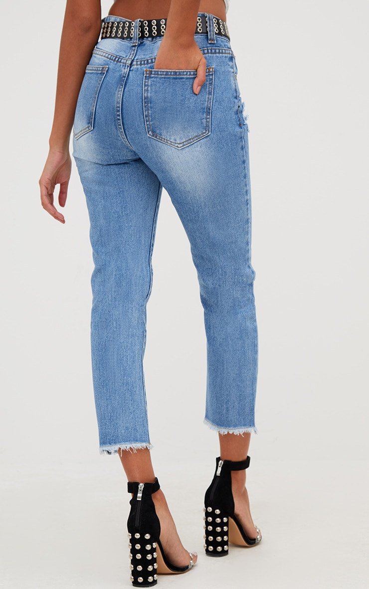 Mid Wash Extreme Knee Rip Slim Jean 5