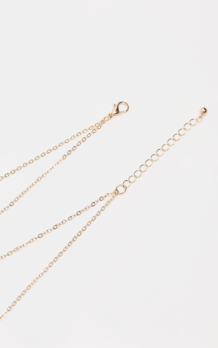 Gold Double Chain Star And Tear Drop Necklace 3