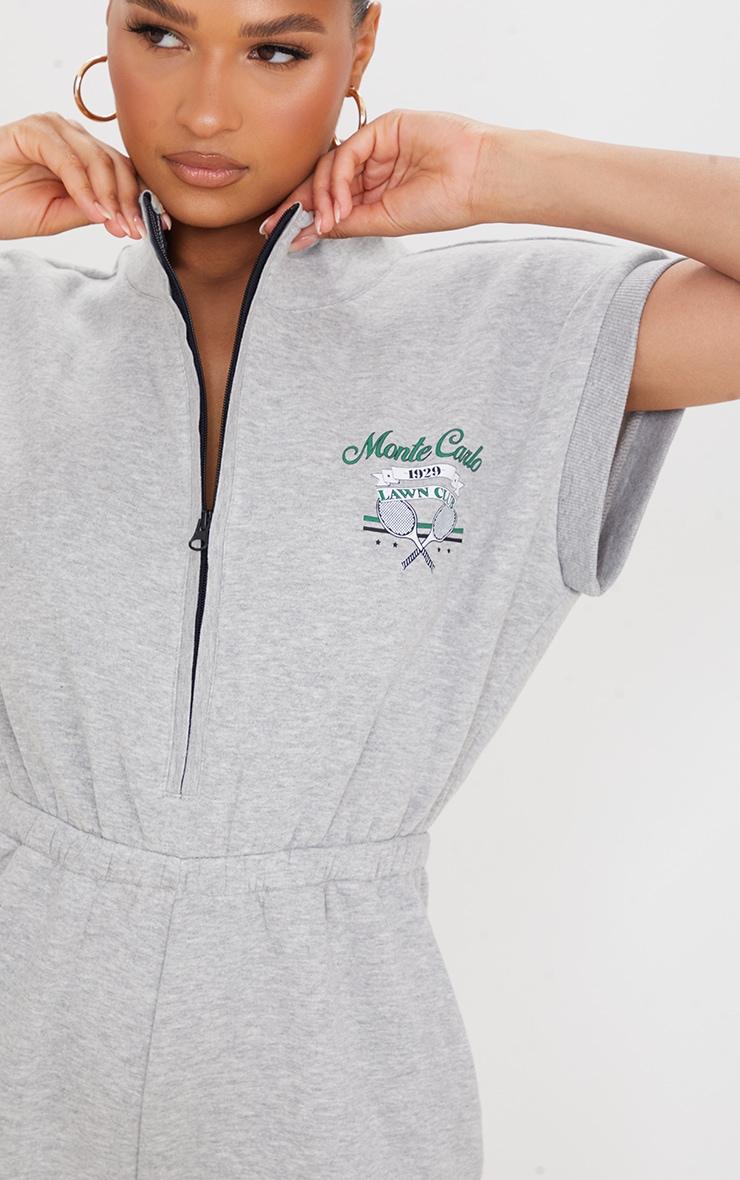 Grey Marl Monte Carlo Zip Sleeveless Sweat Culotte Jumpsuit 4