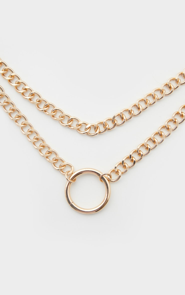Gold Chunky Chain Double Necklace 3